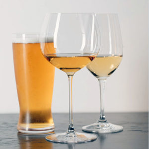 beer and two wine glasses