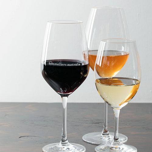 three glasses of varied wine